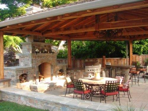 outdoor kitchen and fireplace designs photo - 9