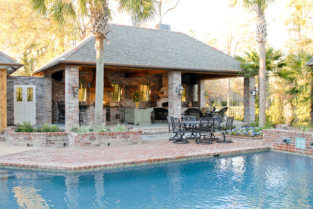 outdoor kitchen and pool photo - 1