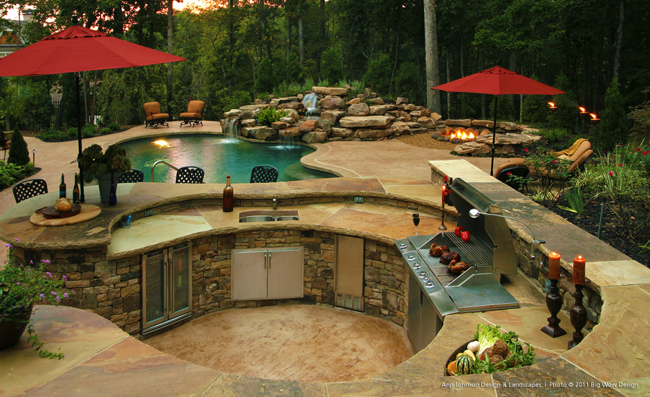 outdoor kitchen and pool photo - 2