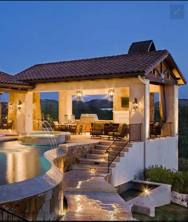 outdoor kitchen and pool photo - 9