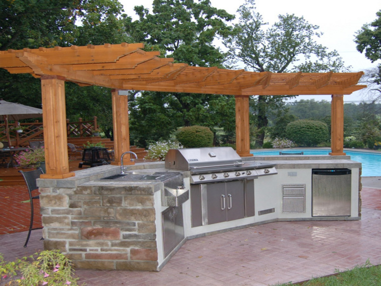 outdoor kitchen grill island photo - 7