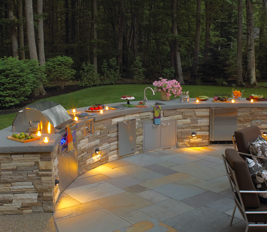 outdoor kitchen lighting design photo - 10