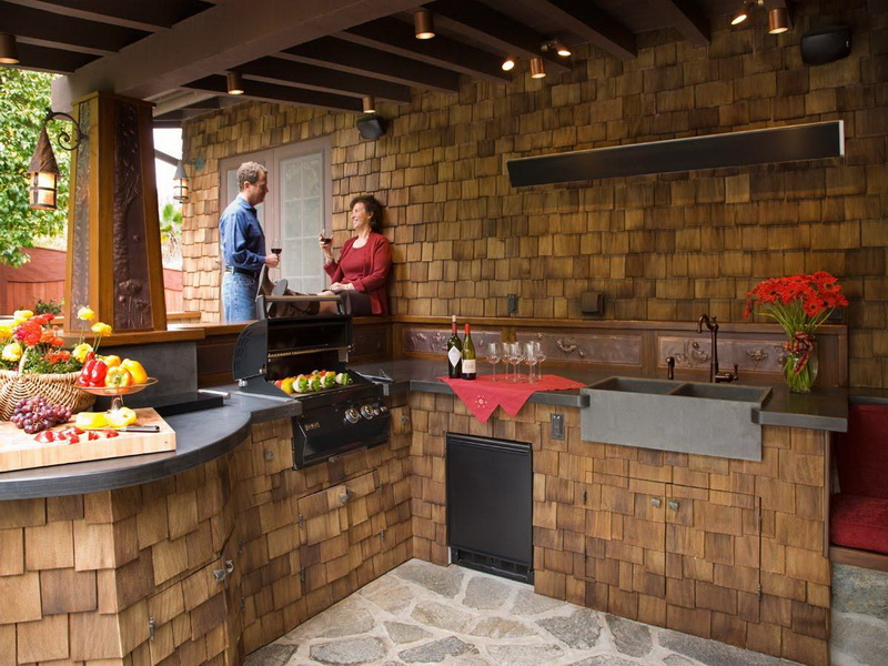 outdoor kitchen lighting design photo - 2