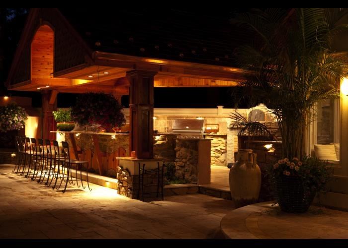 outdoor kitchen lighting design photo - 5