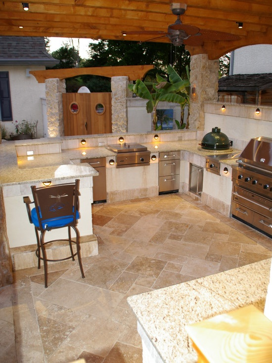 outdoor kitchen lighting design photo - 7