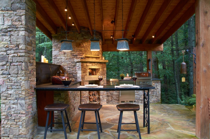 outdoor kitchen lighting design photo - 9