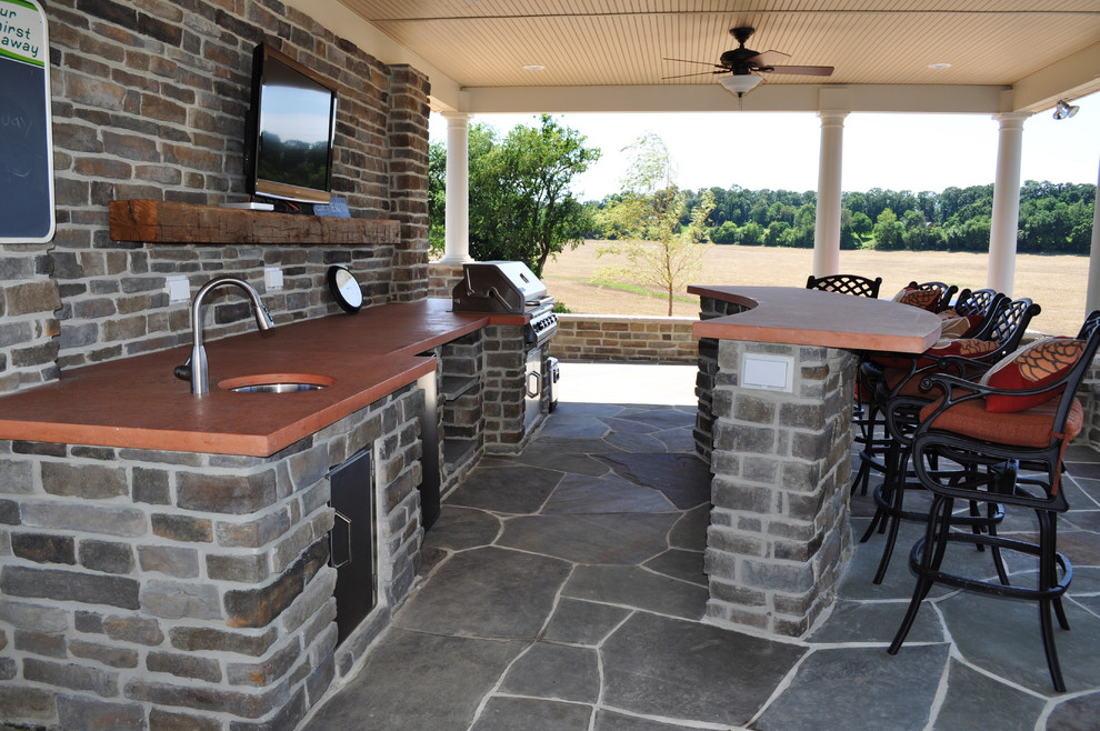 outdoor kitchen with bar photo - 10