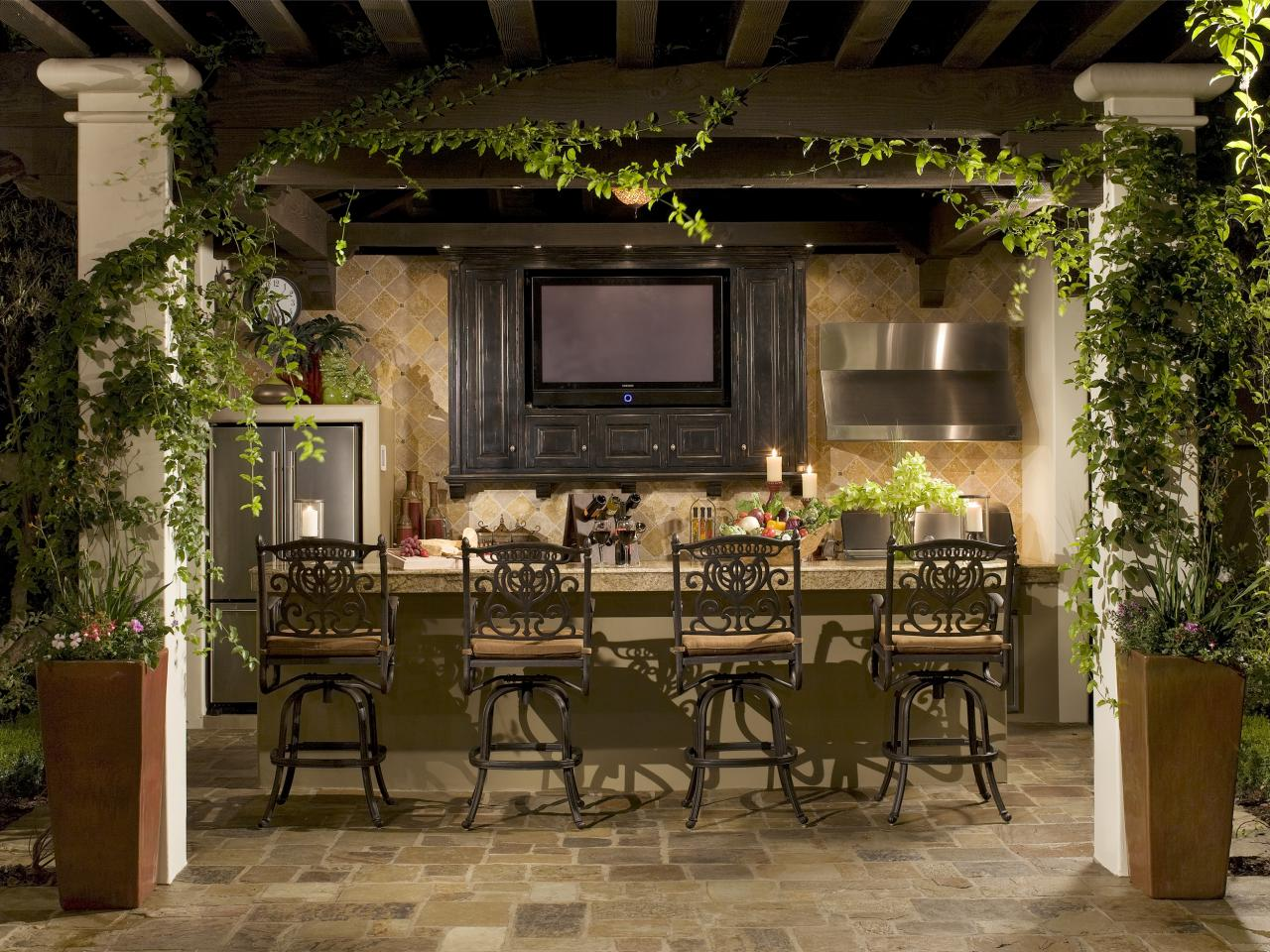 outdoor kitchen with bar photo - 4