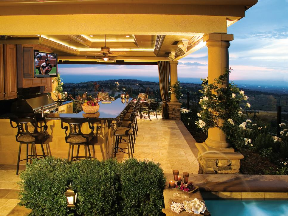 outdoor kitchen with bar photo - 6