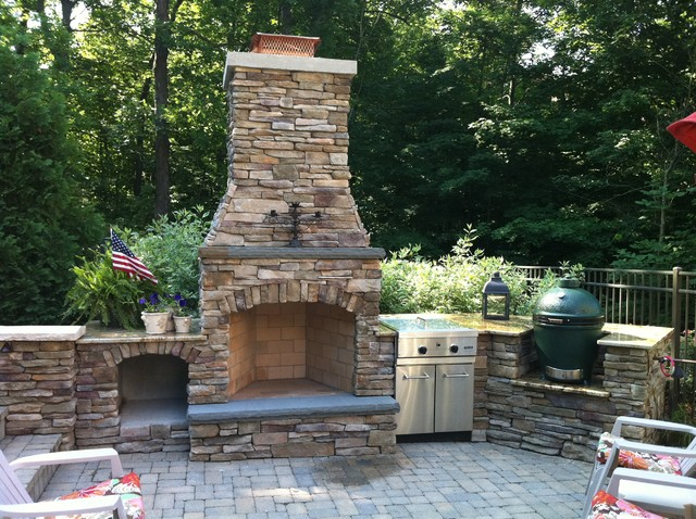 outdoor kitchen with fireplace photo - 5