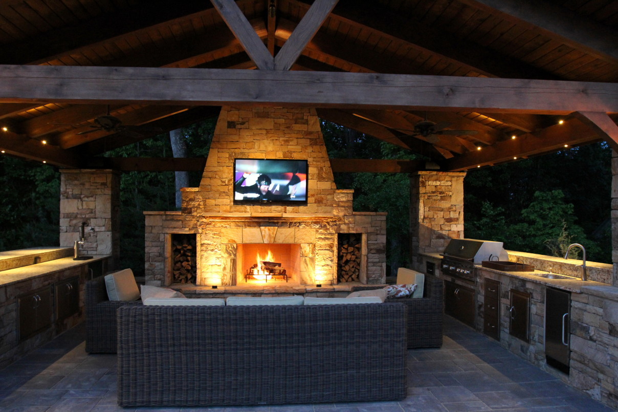outdoor kitchen with fireplace photo - 6