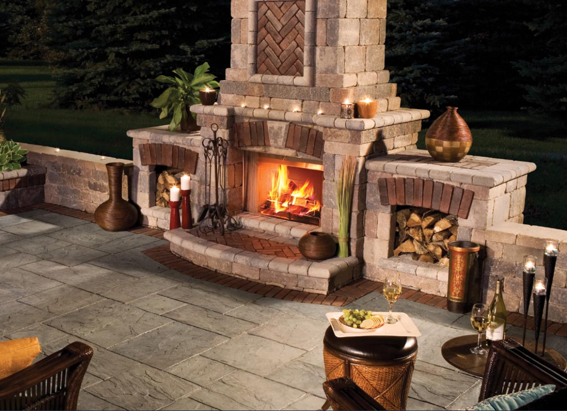 outdoor kitchen with fireplace photo - 7