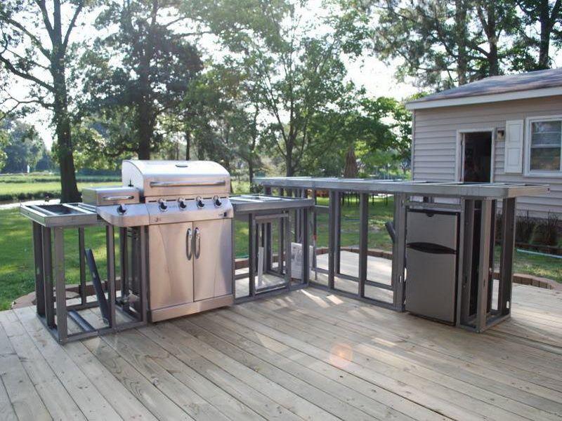 outdoor kitchen wood frame photo - 6