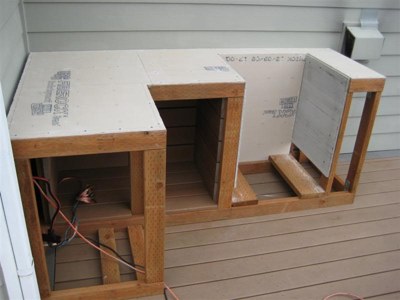 outdoor kitchen wood frame photo - 7