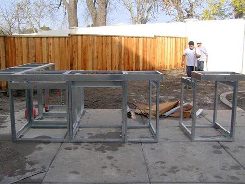 outdoor kitchen wood frame photo - 9