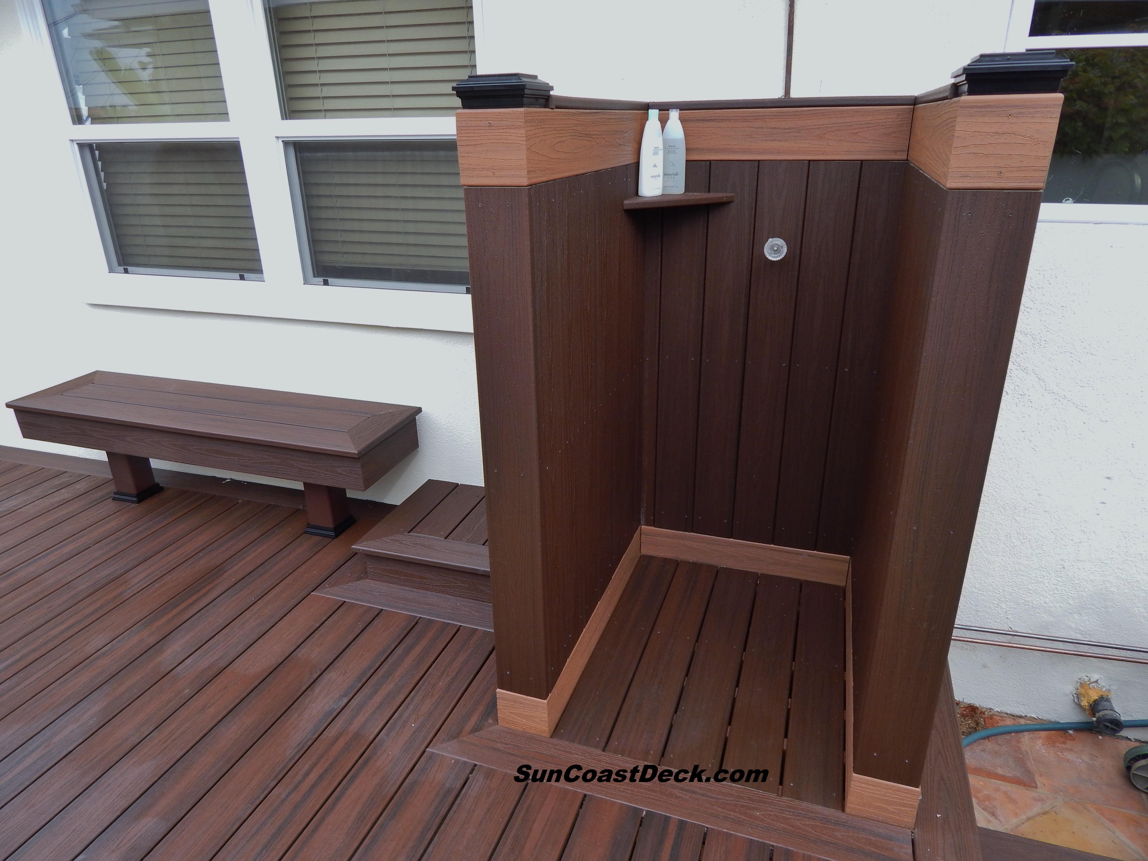 Outdoor shower bench | Hawk Haven