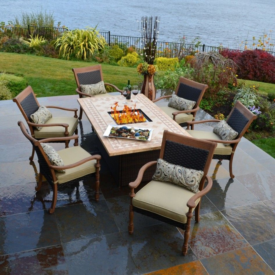 patio dining sets with fire pits photo - 1