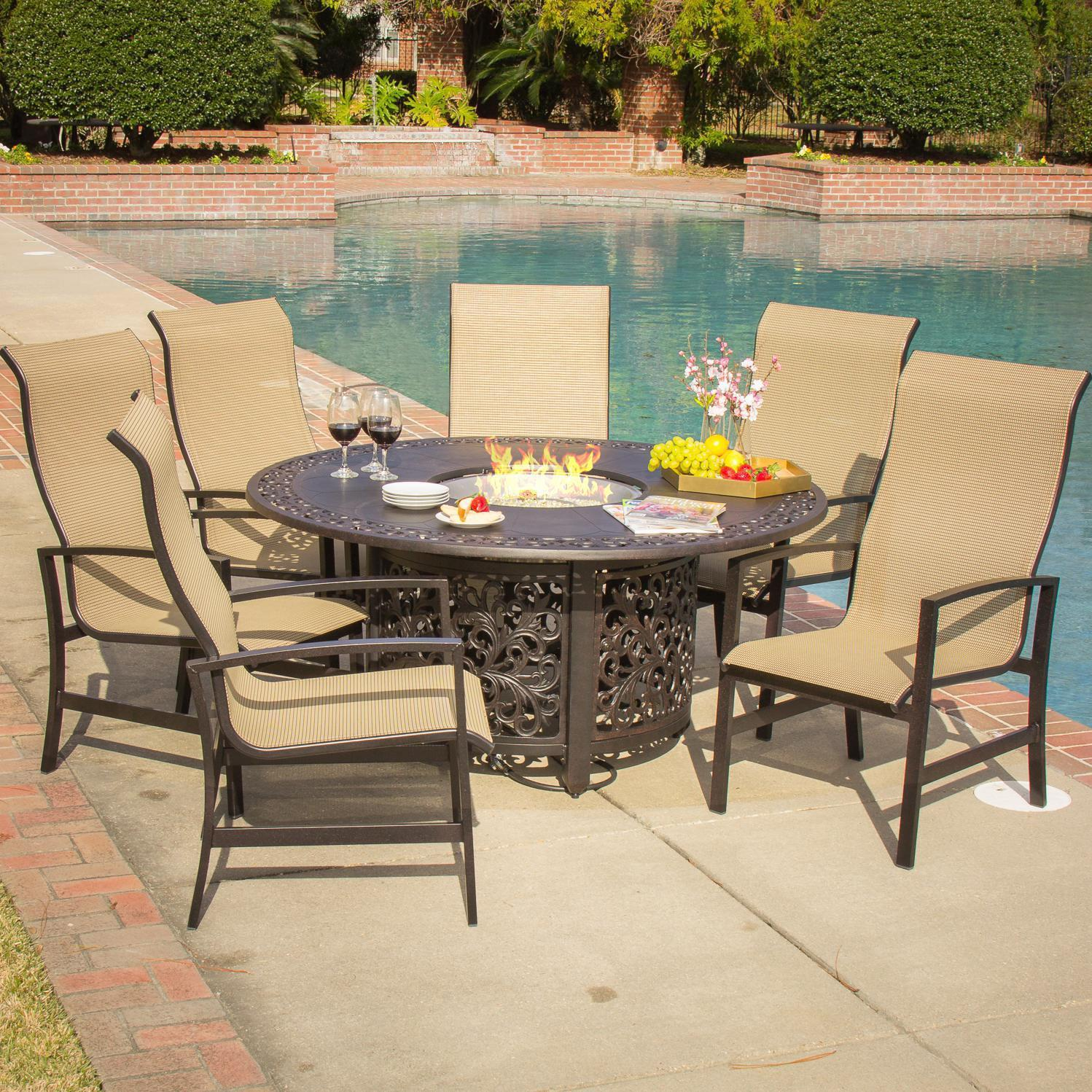 patio dining sets with fire pits photo - 2