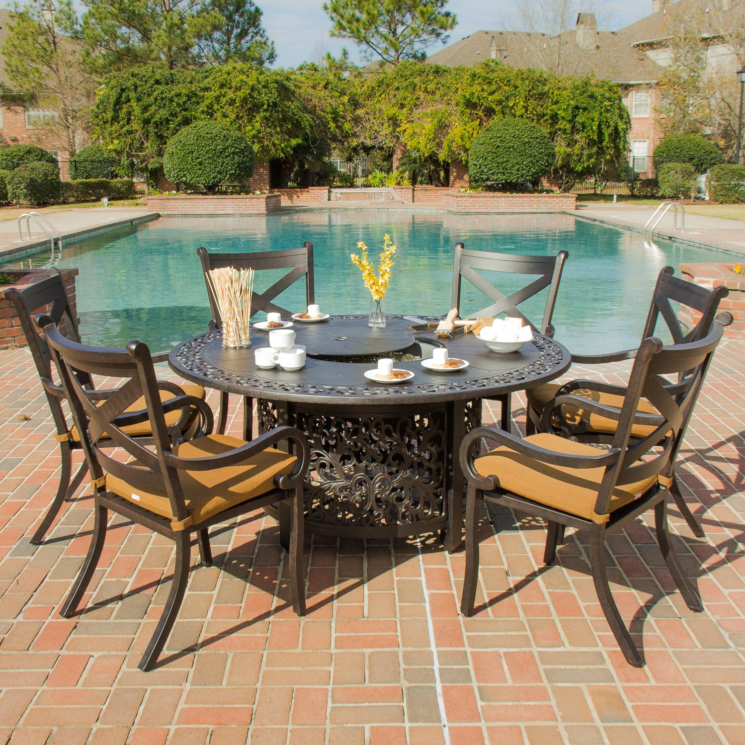 patio dining sets with fire pits photo - 3