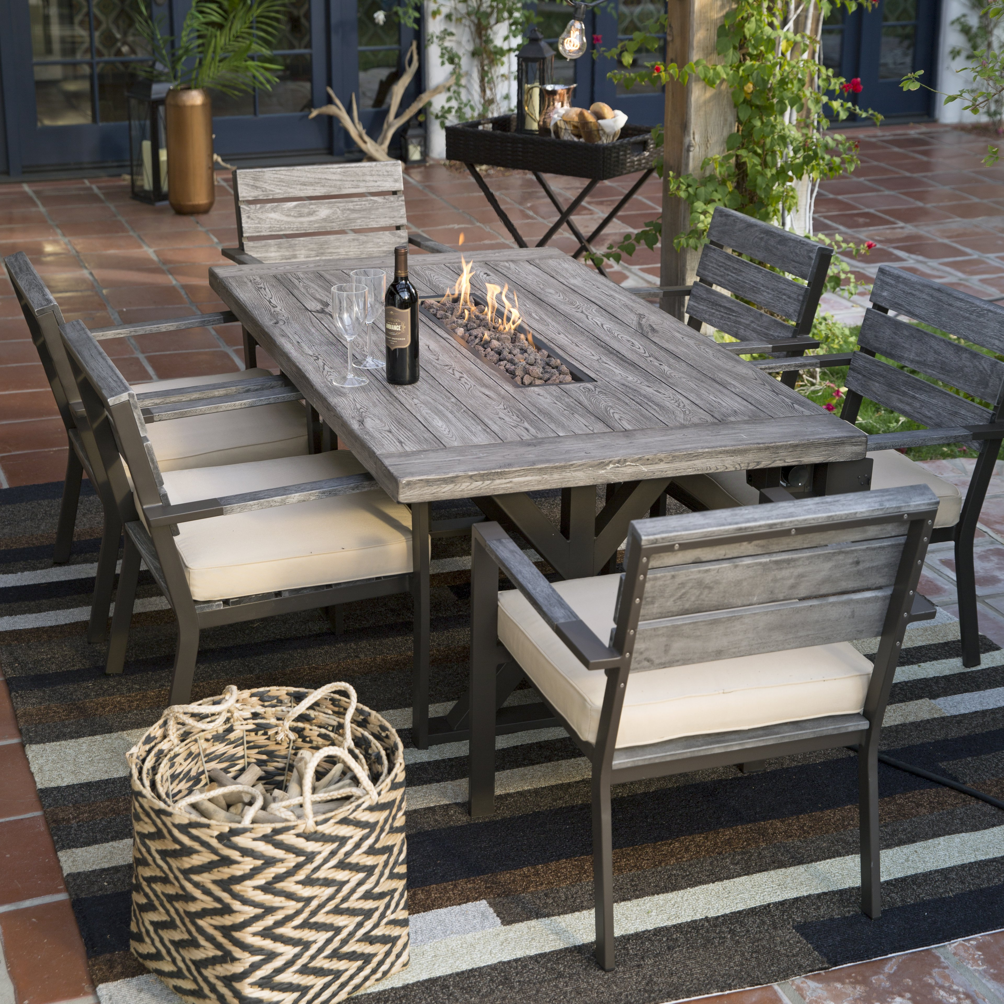 patio dining sets with fire pits photo - 4