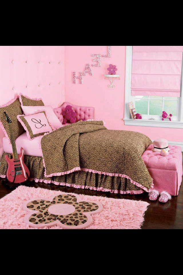 pink leopard print bedroom accessories photo - 4