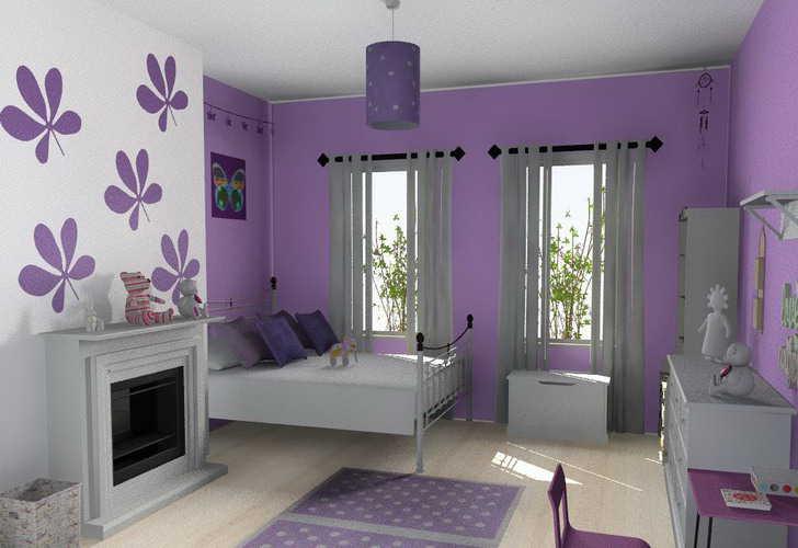 purple color room idea photo - 2