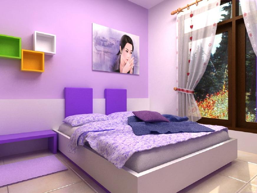 purple color room idea photo - 9