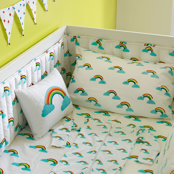 rainbow cot bedding photo - 4