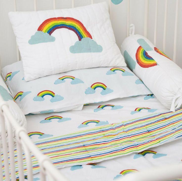 rainbow cot bedding photo - 5