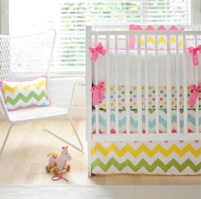 rainbow crib bedding photo - 3