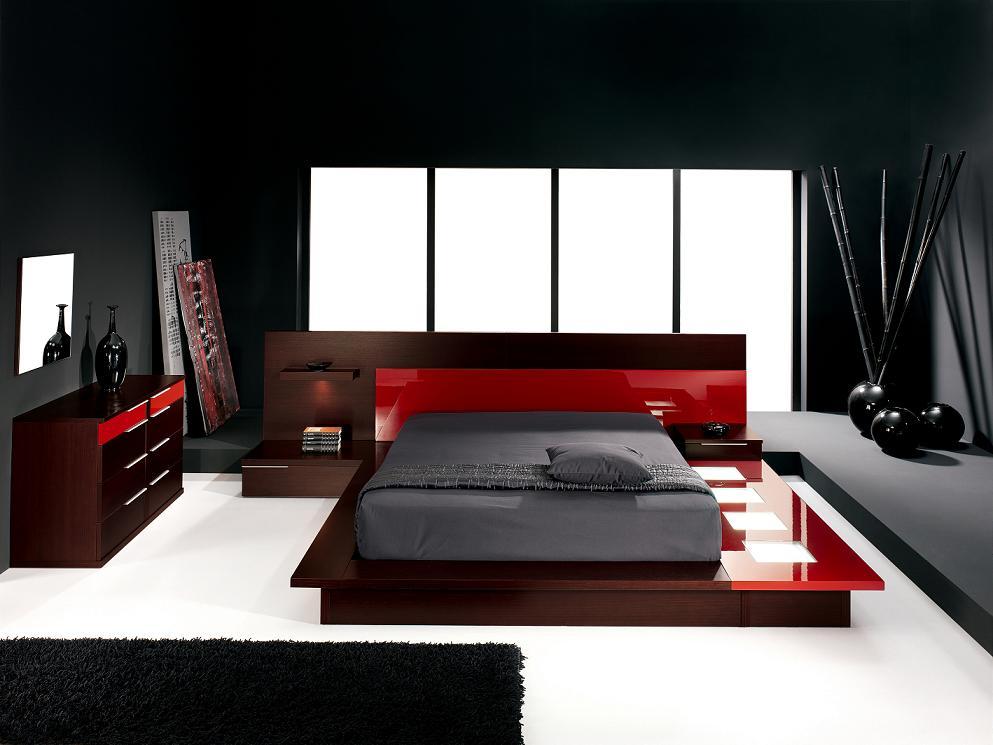 red bedroom black furniture photo - 1