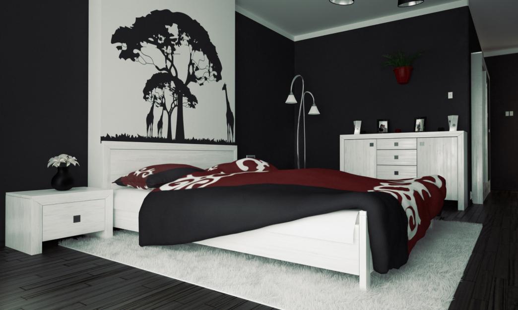 red bedroom black furniture photo - 10