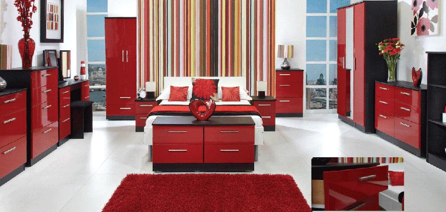 red bedroom black furniture photo - 7