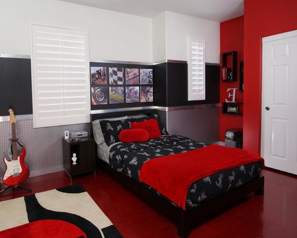 red bedroom black furniture photo - 9