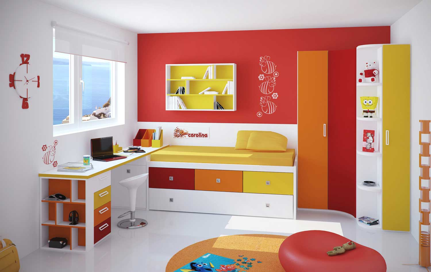 red bedroom furniture for kids photo - 6