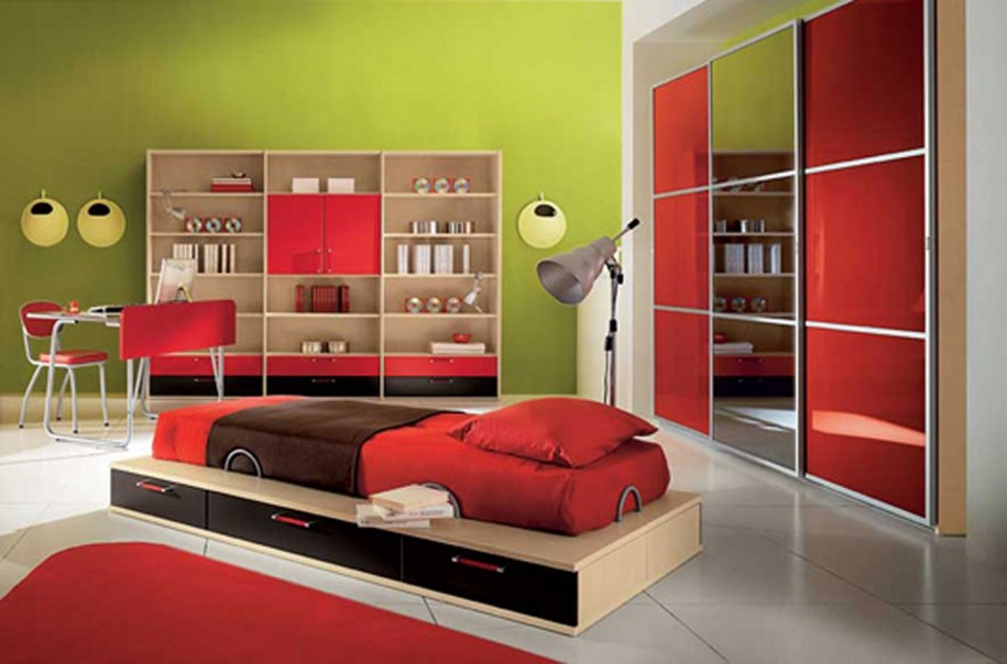 red bedroom furniture for kids photo - 8