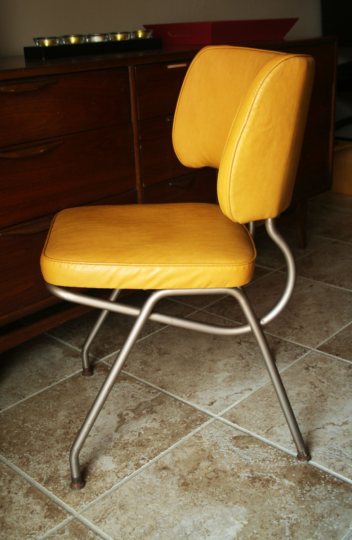 retro kitchen chairs yellow photo - 2
