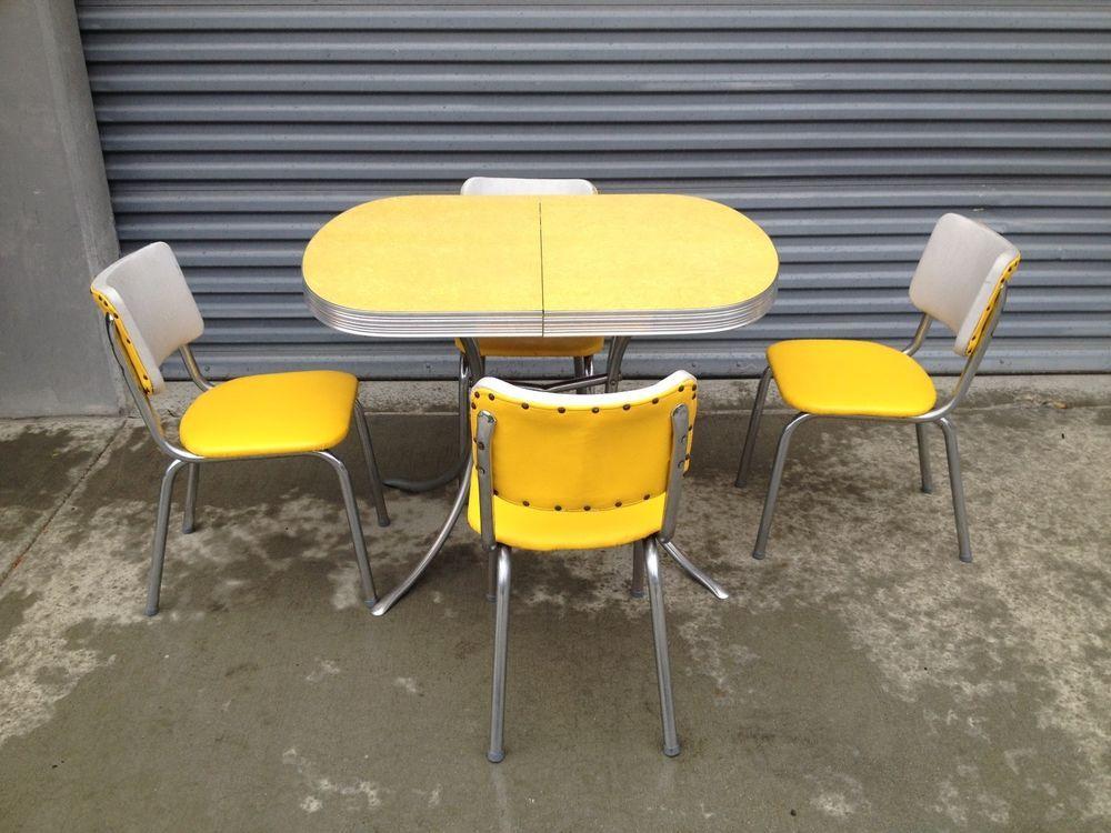 retro kitchen chairs yellow photo - 8