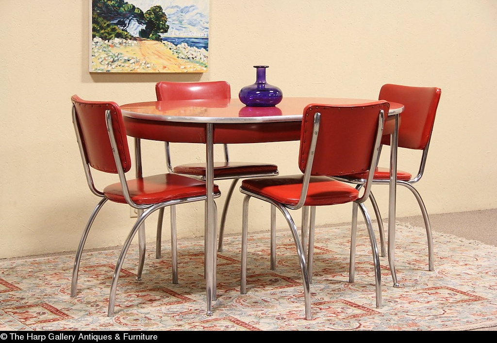 retro red kitchen chairs photo - 5