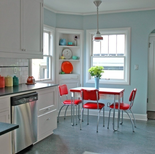 retro red kitchen chairs photo - 6