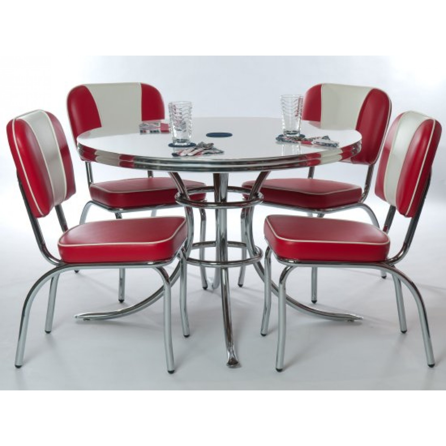 retro red kitchen chairs photo - 8