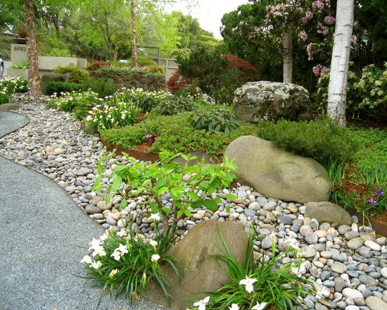 river rock garden bed photo - 1