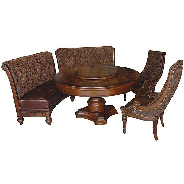 round dining tables bench seating photo - 2
