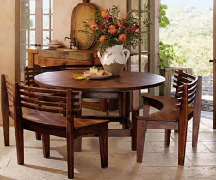 round dining tables bench seating photo - 6