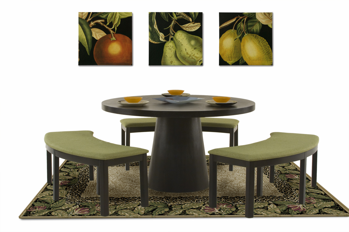 round dining tables bench seating photo - 7