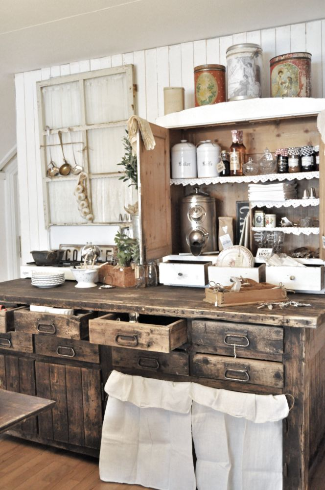Rustic Country Kitchen Cabinets Photo   1
