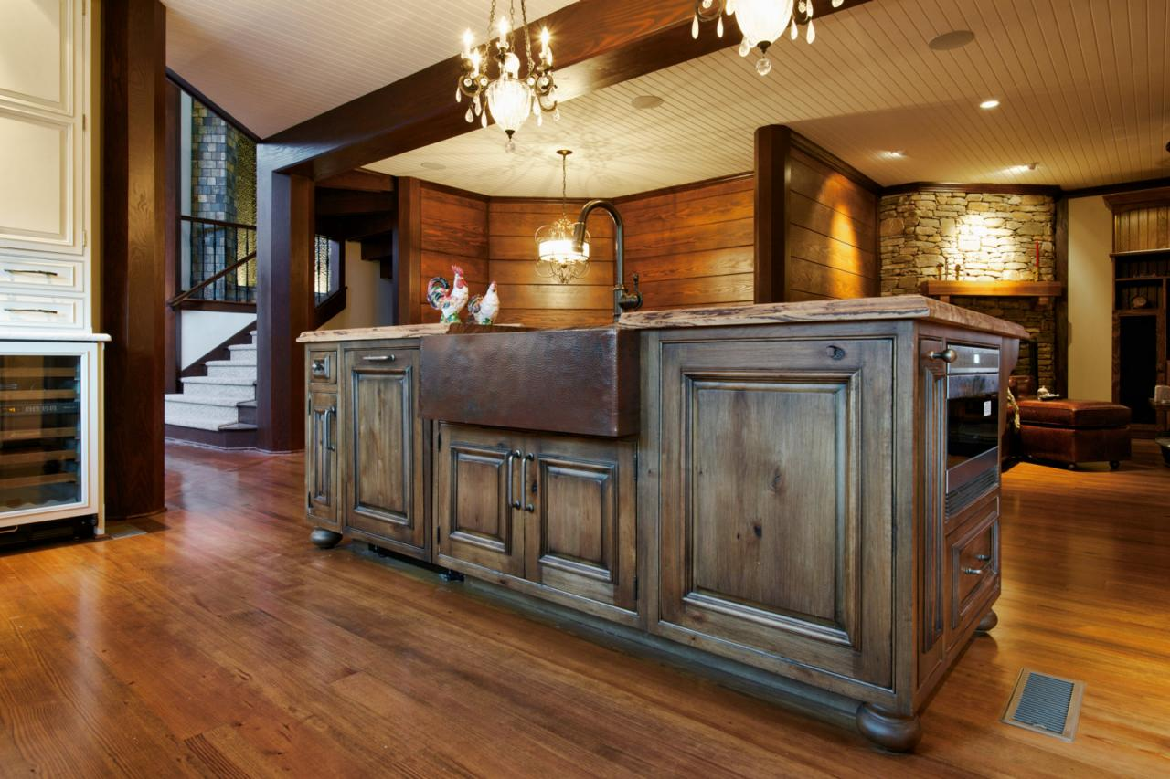 rustic country kitchen cabinets photo - 7