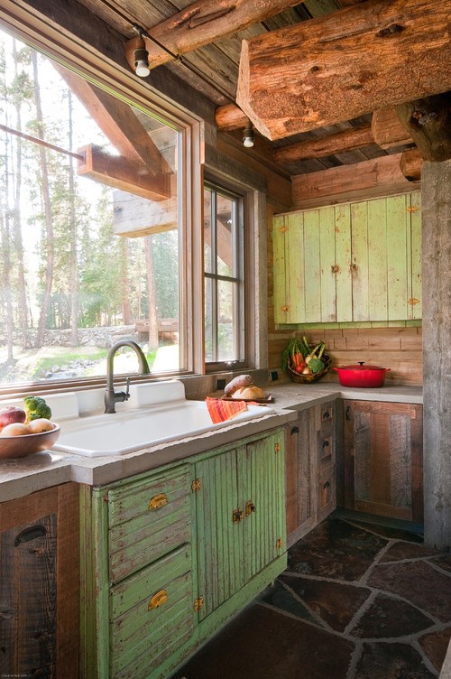 rustic country kitchen cabinets photo - 8