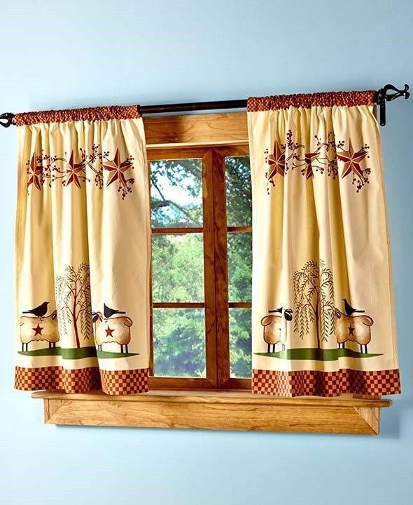 rustic country kitchen curtains photo - 2