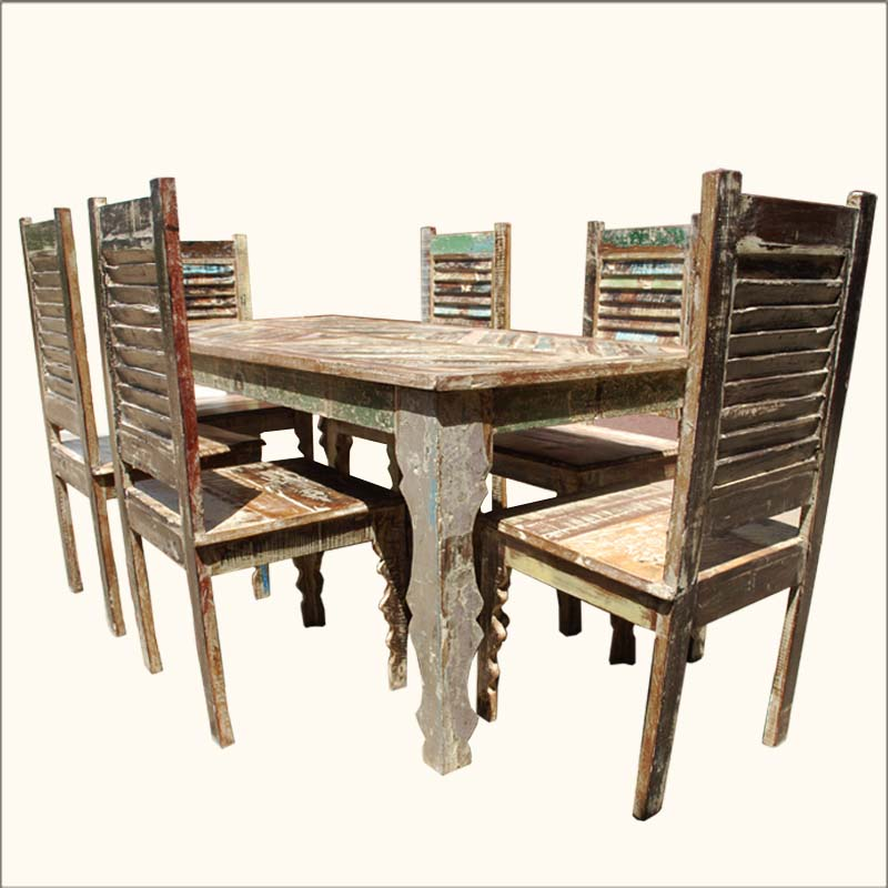 rustic dining table and chairs photo - 10